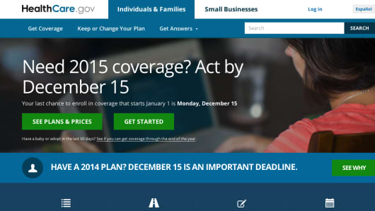 The deadline for signing up for health insurance is displayed on HealthCare.gov website.