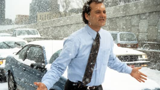 "Bill Murray in a scene from the 1993 film ""Groundhog Day."""