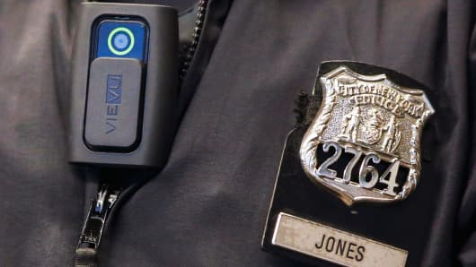 A police body camera on an officer of the New York City Police Department.