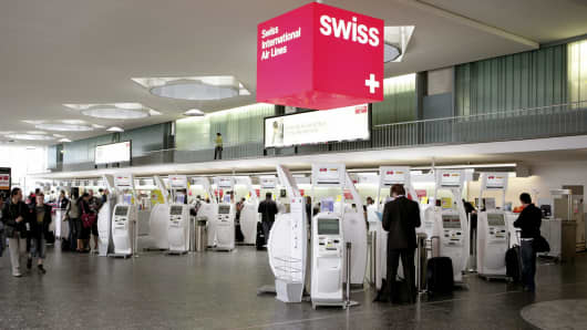 A file photo of the airport in Zurich, Switzerland