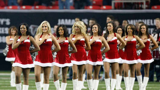 Atlanta Falcons cheerleaders during game in Atlanta.