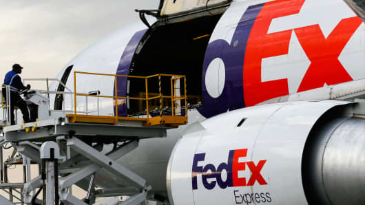 A FedEx cargo plane at the company's distribution hub at Los Angeles International Airport.