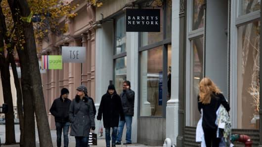 Outside the Barneys New York store on Wooster Street in New York City's SoHo neighborhood.