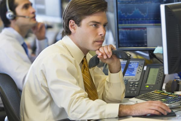 Traders at desk