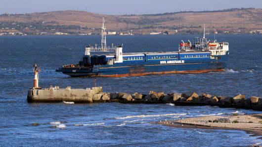 The train ferry crosses the Kerch strait from Port Caucasus, Krasnodar region in southern Russia towards Port Crimea.