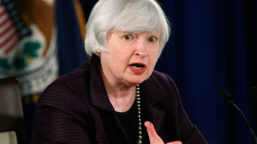 U.S. Federal Reserve Chair Janet Yellen speaking at the Federal Reserve in Washington December 17, 2014.