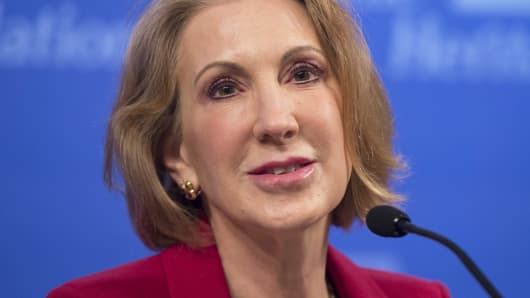 Carly Fiorina speaks about the economy during a panel at the Heritage Foundation on December 18, 2014 in Washington.
