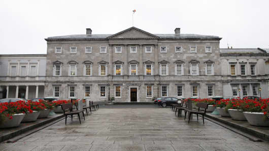 A general view of Leinster House which houses the Seanad chamber, also known as the upper house of the Irish parliament, is pictured in Dublin, Ireland.