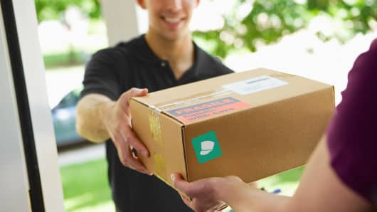 A package delivery from a San Francisco-based start-up called Doorman.