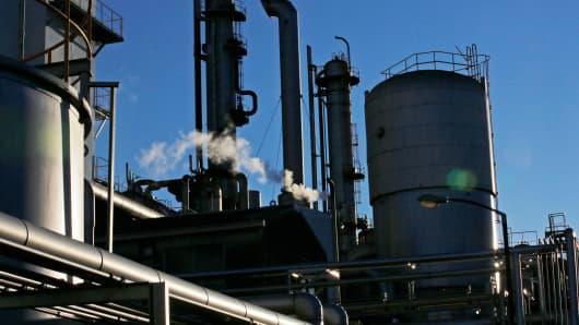 An oil processing plant in Kawasaki, Japan, December 18, 2014.