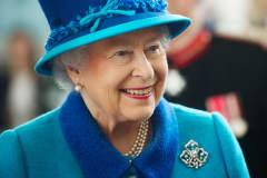 Queen Elizabeth II at the Royal Dockyard Chapel in Pembroke Dock, Wales, April 29, 2014.