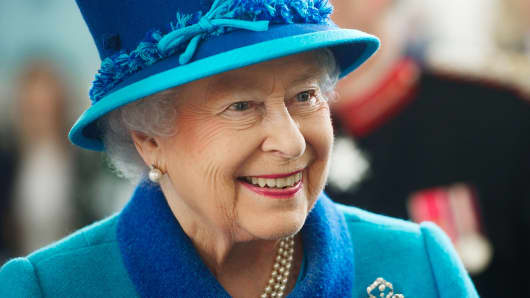 Queen Elizabeth II at the Royal Dockyard Chapel in Pembroke Dock, Wales, April 29, 2014.
