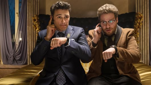 "This image released by Columbia Pictures shows James Franco, left, and Seth Rogen in the film ""The Interview."""