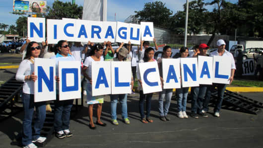 Thousands of demonstrators march against the 173-mile Interoceanic Grand Canal that they say will negatively impact the environment, communities and Nicaraguan sovereignty, in Managua, Nicaragua December 10, 2014.