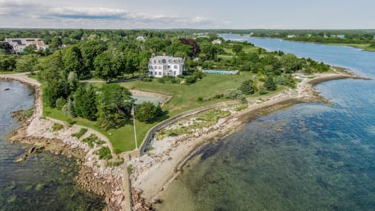 This Waterside Wonder, listed for $13,750,000, resides on 11.25 acres of shoreline.