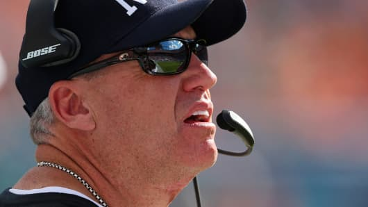 Head coach Rex Ryan of the New York Jets looks on as the Jets met the Miami Dolphins in a game at Sun Life Stadium on Dec. 28, 2014 in Miami Gardens, Fla.