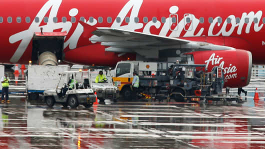 An AirAsia plane at Changi Airport in Singapore, December 29, 2014.