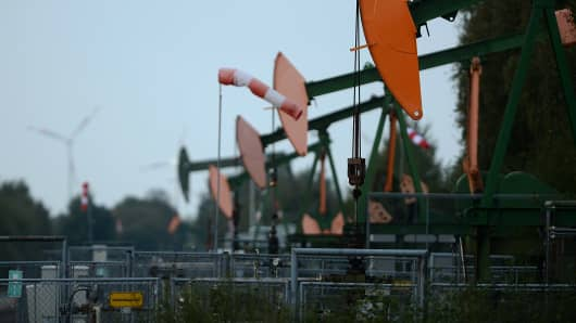 Pumpjacks pump petroleum from the ground.
