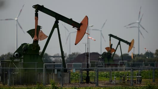 Pumpjacks operated by XX pump petroleum from the ground on September 23, 2014 near Ruehlermoor, Germany.