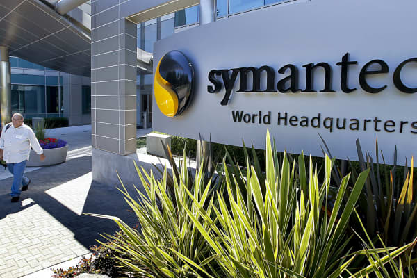 A visitor exits Symantec headquarters in Mountain View, Calif., Aug. 24, 2010.