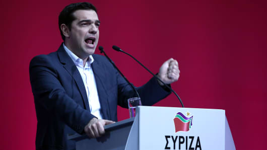 Alexis Tsipras, leader of the radical leftist party Syriza, delivers a speech during a congress of the party in Athens, on January 3, 2015. Syriza.