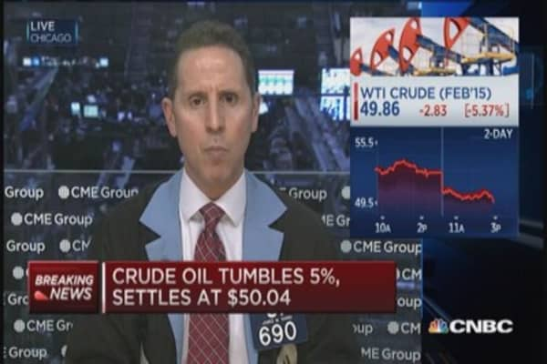 Crude settles at $50.04