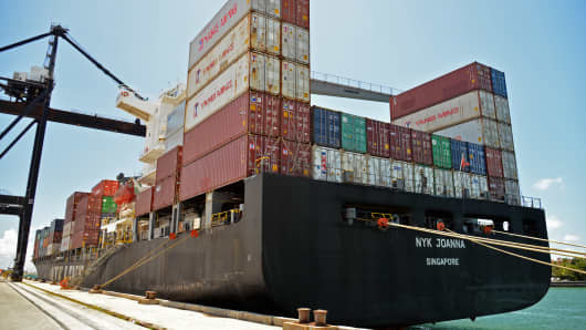 The NYK Joanna container ship sits docked at the Dante B. Fascell Port of Miami-Dade County in Miami, Florida.