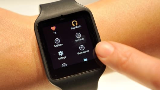 Sony's Smart Watch 3 is displayed at the 2015 International CES in Las Vegas