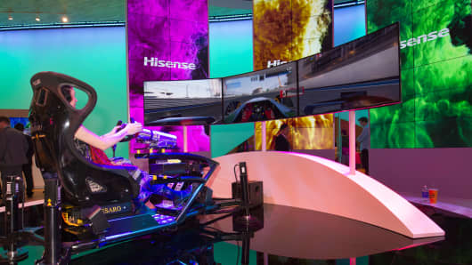 A driving simulator at the Hisense booth during the 2015 International Consumer Electronics Show in Las Vegas, January 6, 2015.