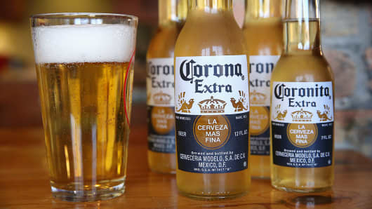 Bottles of Corona beer are shown in Chicago.