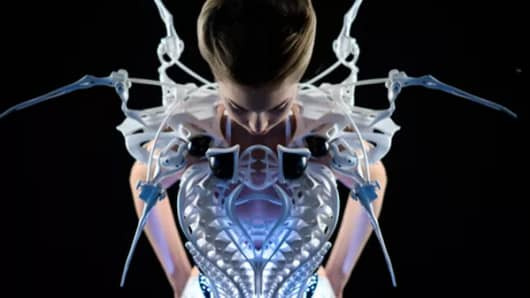 Smart spider dress, powered by Intel Edison