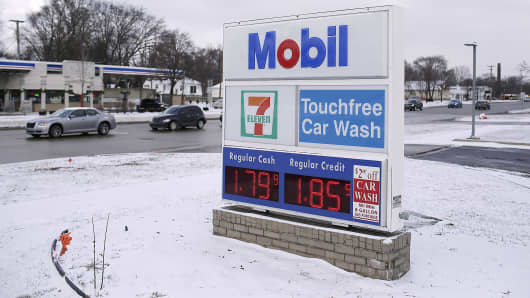 The gas cash price for regular fuel is displayed at $1.79 a gallon at a Mobil station in Livonia, Mich., Jan. 6, 2015.