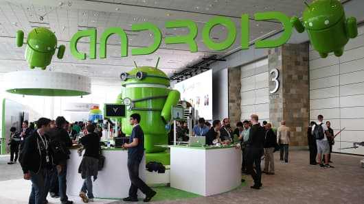 Attendees visit the Android booth during a Google I/O developers conference in San Francisco.
