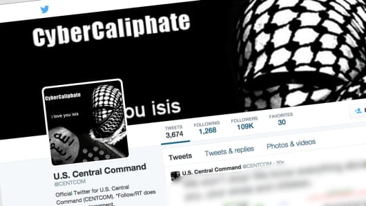 A screen shot of the Twitter account for the US Military Central Command, which was apparently hacked.
