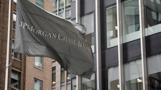 A JPMorgan Chase flag at the company's headquarters in New York.