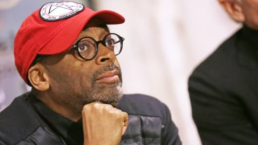 "Director Spike Lee meets the audience during the ""Il Gioco Serio Dell'Arte"" in Rome, Dec. 10, 2014."