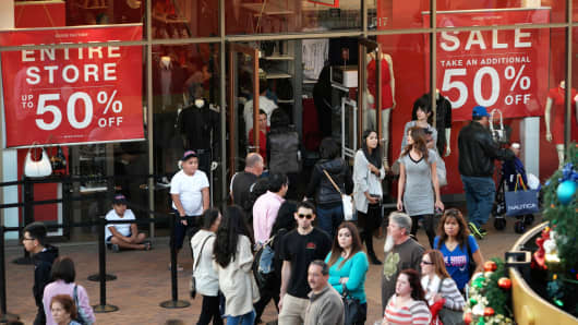 Shoppers are at the Citadel Outlets in Los Angeles.