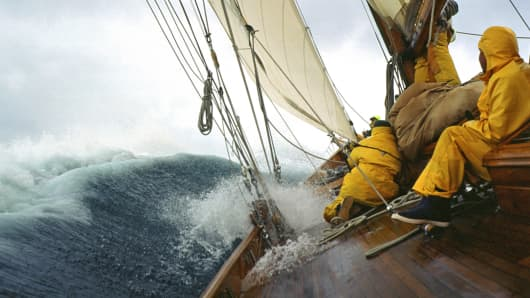 Sailboat in rough seas