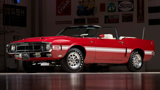 A 1969 Shelby GT500 Convertible, formerly owned by racing legend Carroll Shelby, could sell for $500,000 to $650,000.