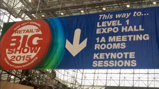 A sign at the 2015 NRF Big Show at the Javits Center in New York.