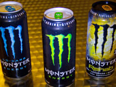 Cans of Monster Energy drinks