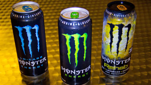 A variety of Monster Energy drinks are shown in Washington.