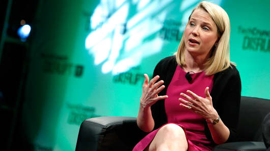 Yahoo CEO Marissa Mayer speaks at TechCrunch Disrupt NY 2014 in New York.