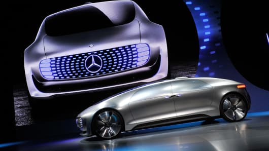A Mercedes-Benz F 015 autonomous driving automobile