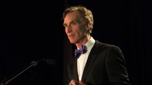 "Bill Nye, ""The Science Guy,"" speaking at the Toshiba/NSTA ExploraVision Gala 2014"