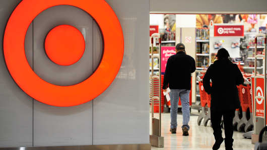 Customers arrive at a Target store in St. Albert, Alberta, January 15, 2015.