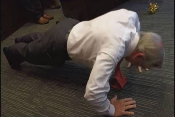 Billionaire does 75 pushups on 75th birthday