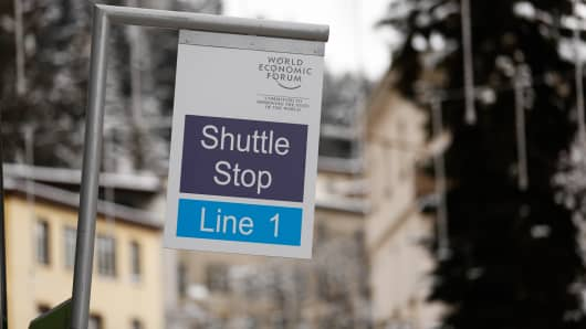 A shuttle stop in Davos, Switzerland as the the 2015 WEF kicks off.