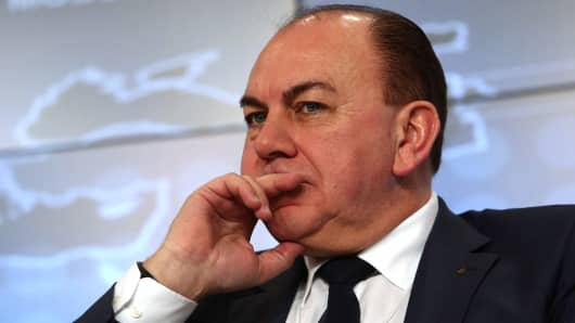 Axel Weber, chairman of UBS Group AG, pauses during a session on the opening day of the World Economic Forum (WEF) in Davos, Switzerland, on Wednesday, Jan. 21, 2015.