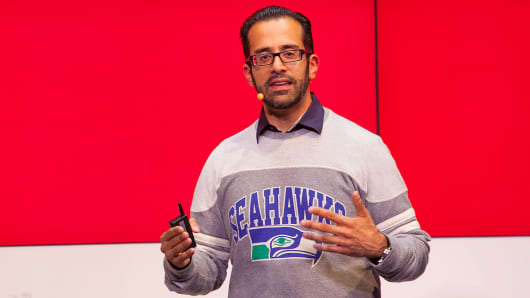 Rahul Sood gestures as he speaks during a news conference at the new Microsoft store in Berlin, Nov. 7, 2013.